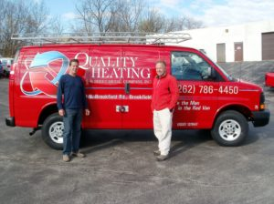 Greg & Steve Out and About in Quality Heating Red Van